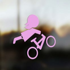 Family Girl sticker mountain bike rider pink