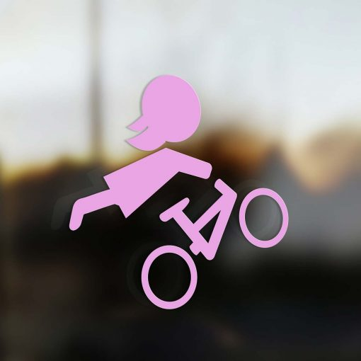 Family Mom sticker mountain bike rider pink