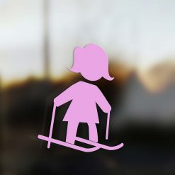 Family Mom sticker skier pink