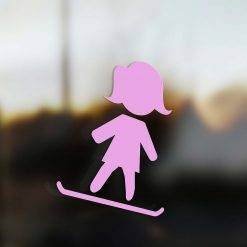 Family Mom sticker snowboard rider pink