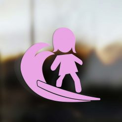 Family Mom sticker surfer pink