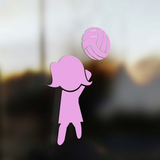 Family Mom sticker volleyball player pink