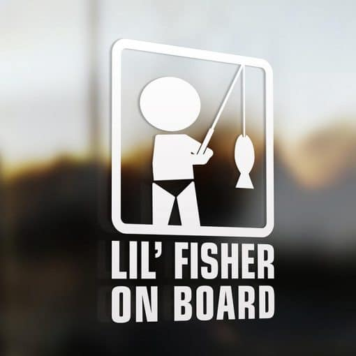 Lil' fisherman on board car sticker