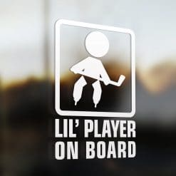 Lil' hockey player on board car sticker