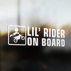 Lil' motocross rider on board car sticker