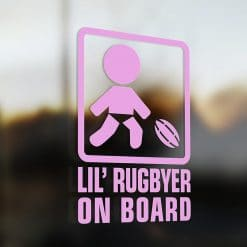 Lil' rugby player on board car sticker